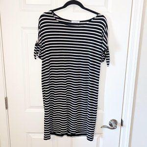 Calvin Klein Women's Black/White Striped Dress M